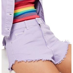 Topshop | high waist moto fray hem denim shorts